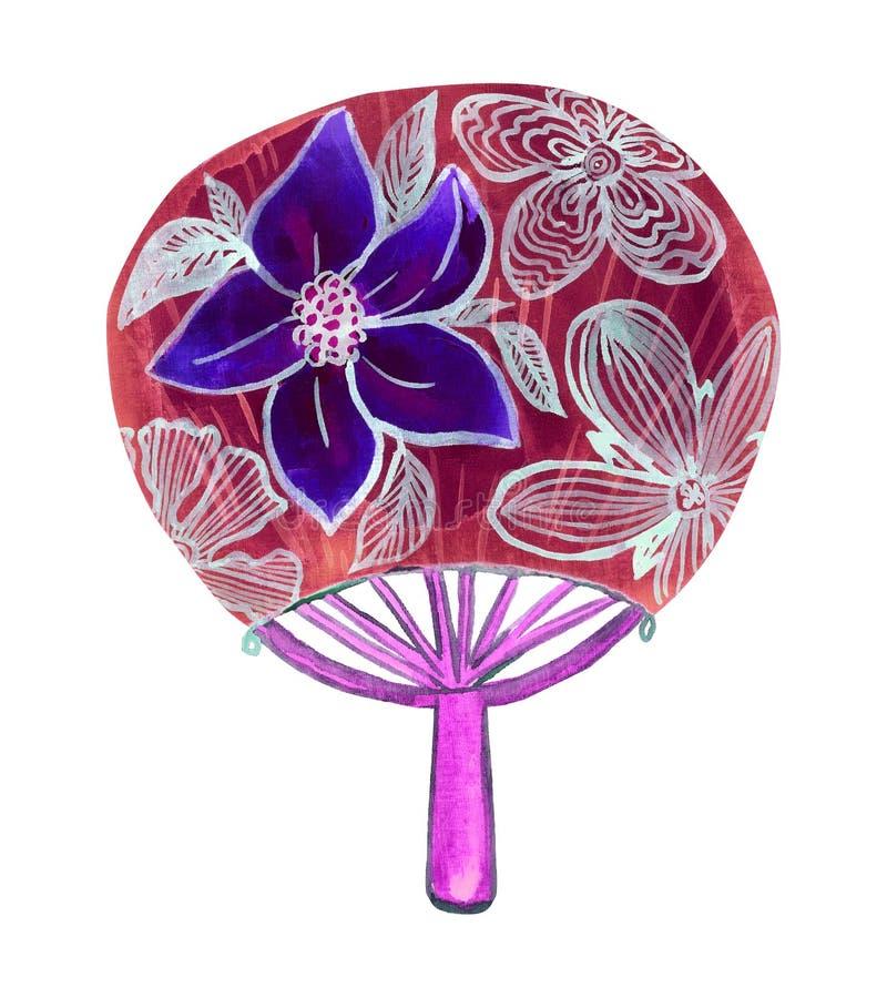 与蓝色荷花花的传统圆的亚洲爱好者 库存例证
