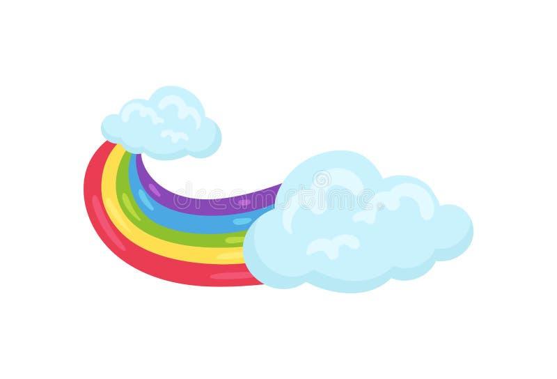 与蓝色蓬松云彩的多彩多姿的彩虹 儿童居室的装饰墙壁贴纸 海报的平的传染媒介元素 库存例证