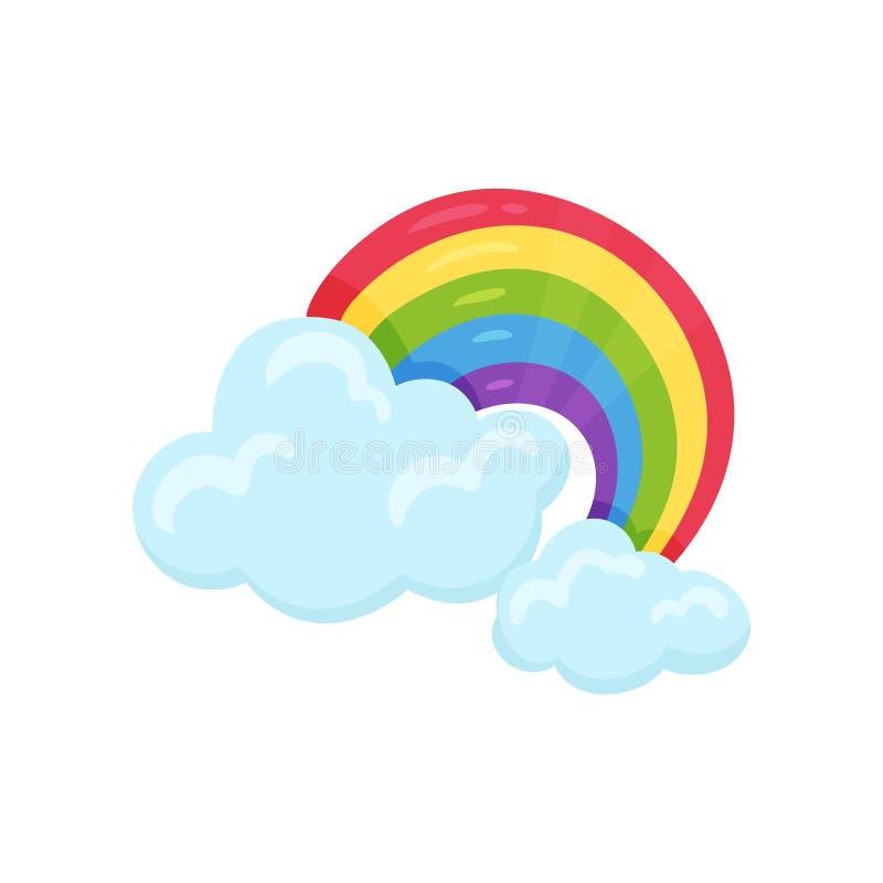与蓝色蓬松云彩的多彩多姿的被成拱形的彩虹 动画片天气符号 印刷品,流动应用程序的平的传染媒介或者 皇族释放例证
