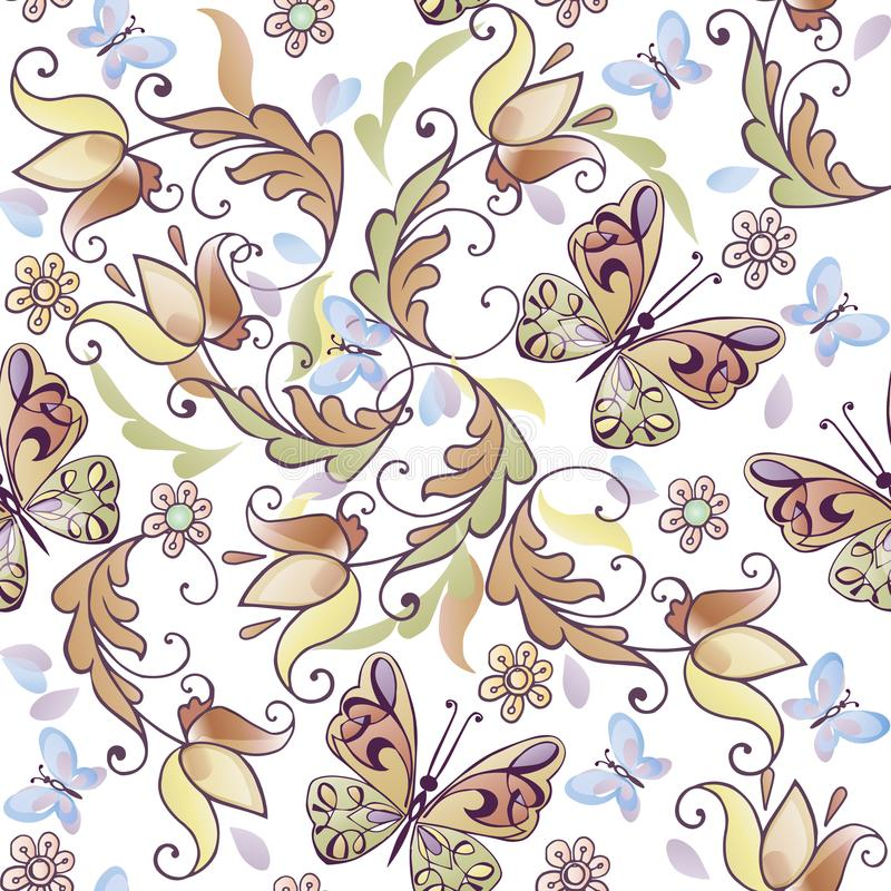 与蓝色蝴蝶的逗人喜爱的花卉无缝的样式 导航贺卡的,邀请花卉背景 库存例证