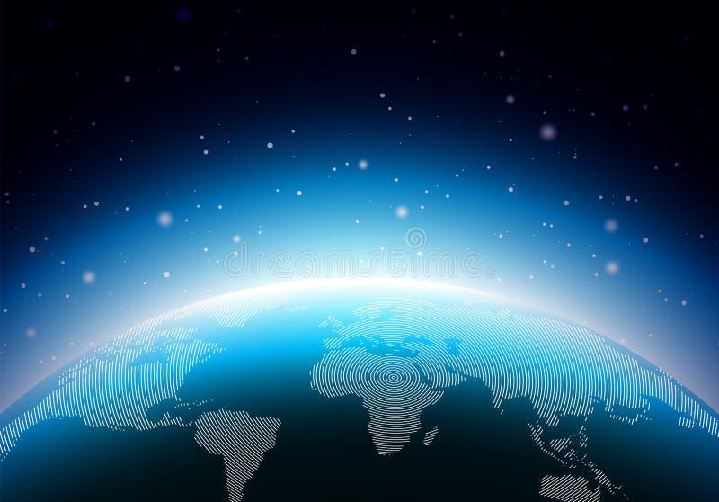 与蓝色行星的地球例证 世界地图或地球背景概念 导航横幅、海报或者问候的设计 向量例证