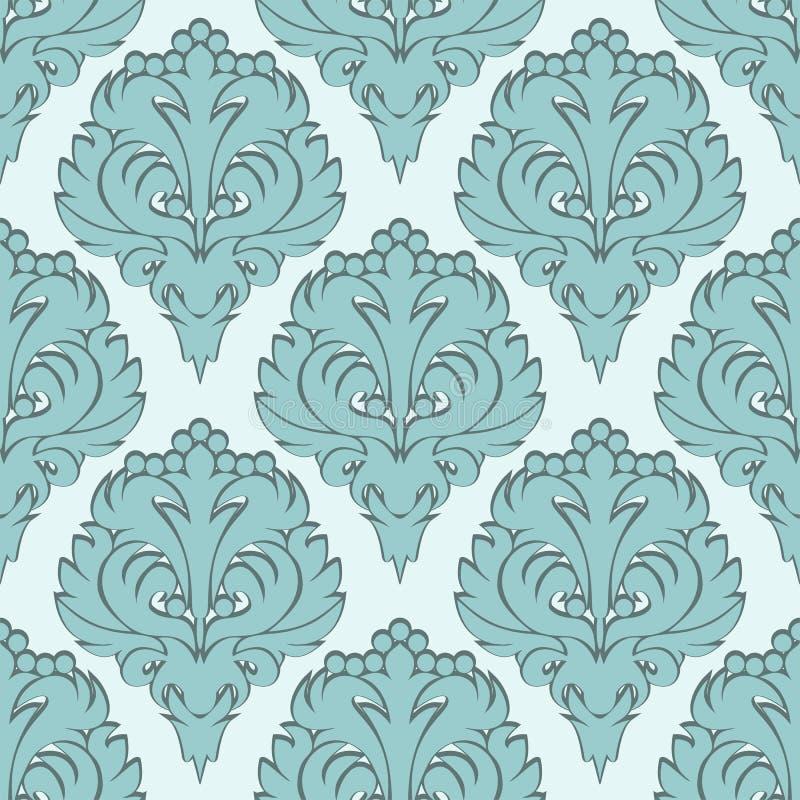与蓝色装饰品的无缝的锦缎墙纸 向量例证