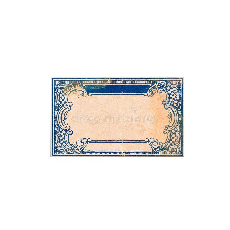 与蓝色装饰品的老,装饰框架在葡萄酒纸 免版税库存照片