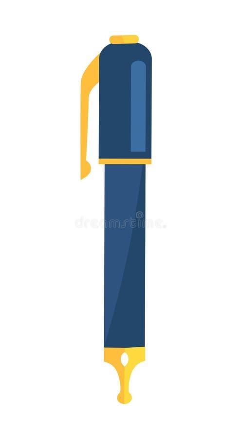与蓝色身体和金黄文字元素的墨水笔 皇族释放例证