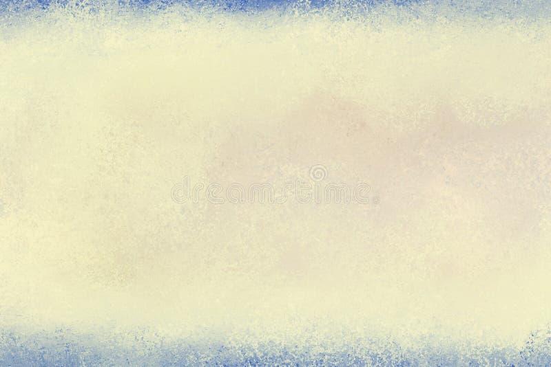 与蓝色边界的老被染黄的纸背景在葡萄酒纹理布局 皇族释放例证