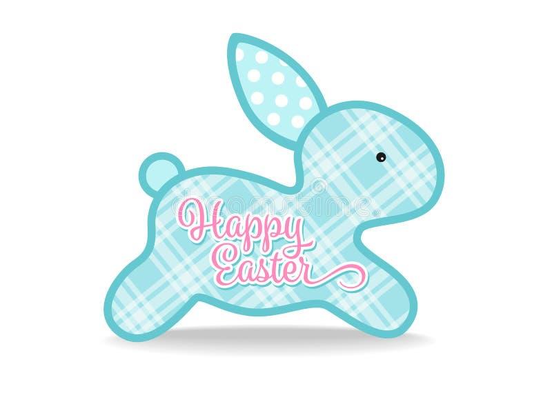 与蓝色逗人喜爱的兔宝宝的复活节快乐和在白色背景传染媒介的苏格兰格子呢纹理标志设计 皇族释放例证