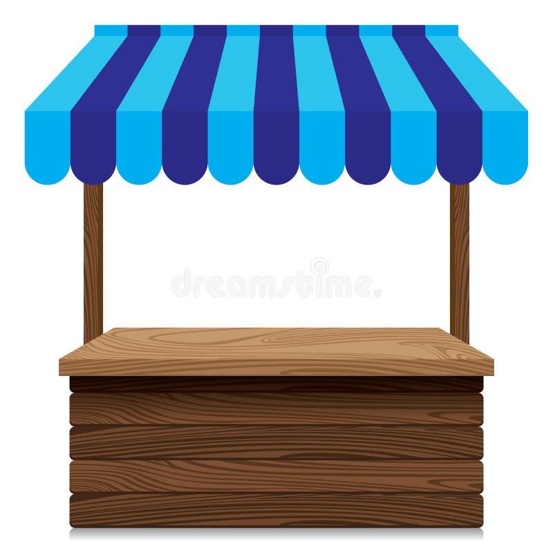 与蓝色遮篷的木市场摊位在白色背景 皇族释放例证