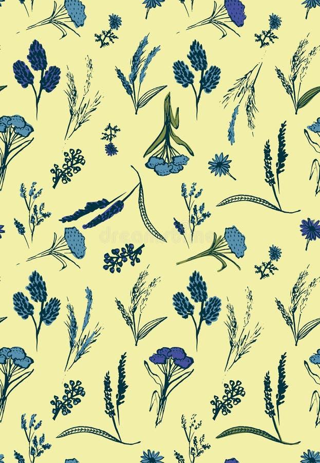 与蓝色野花的浪漫无缝的传染媒介样式在苍白背景 向量例证