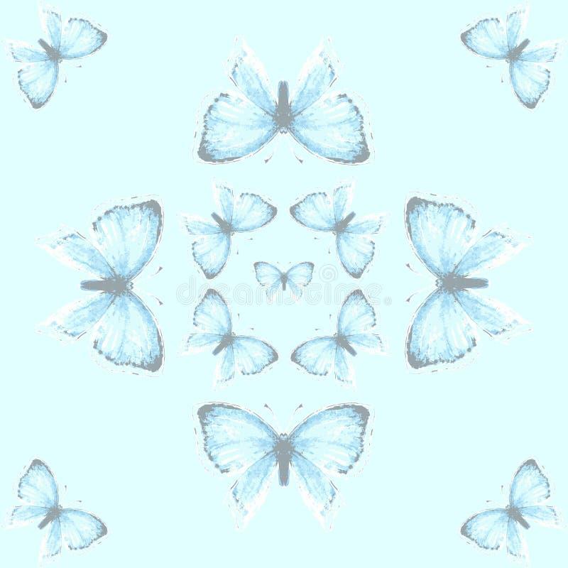 与蓝色铜蝴蝶的无缝的样式 向量例证