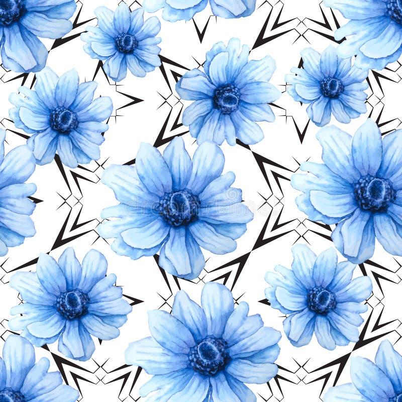 与蓝色银莲花属花的水彩五颜六色的样式在白色背景 手图画例证 向量例证