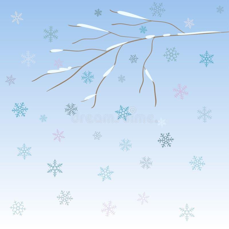 与蓝色雪花的光秃的冬天摘要分支 向量例证