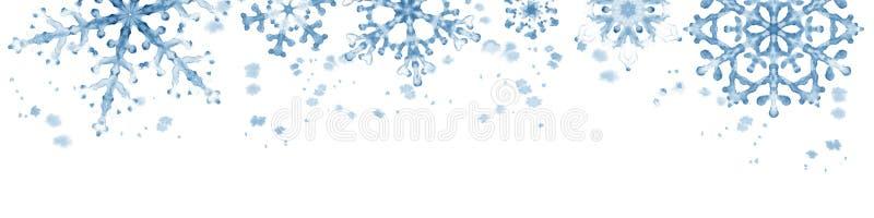 与蓝色雪花的冬天边界在白色背景 手画水平的例证 皇族释放例证