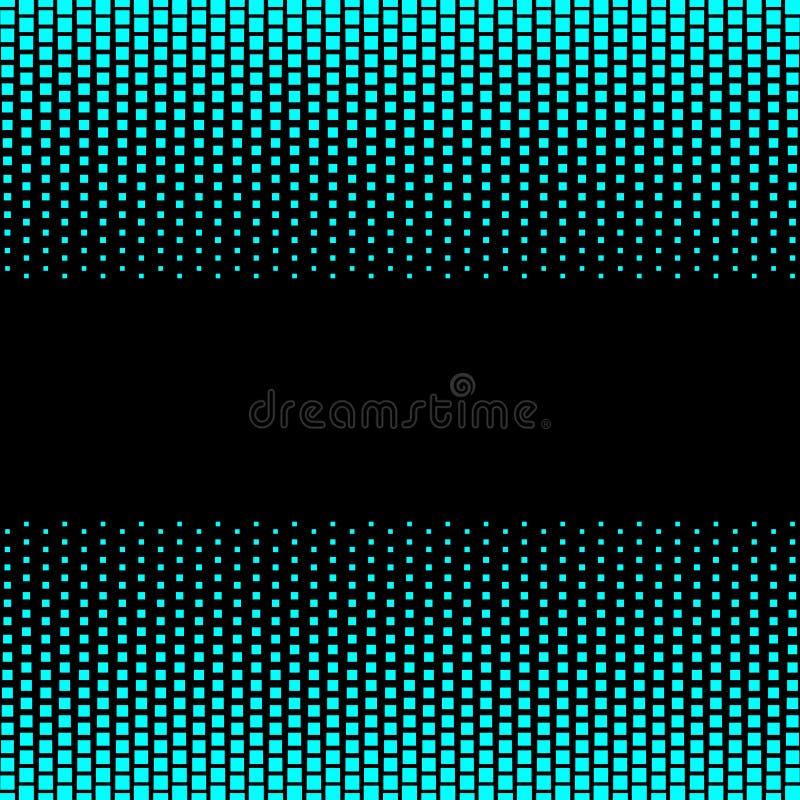 与蓝色霓虹小点光的黑背景与文本的空间 向量例证