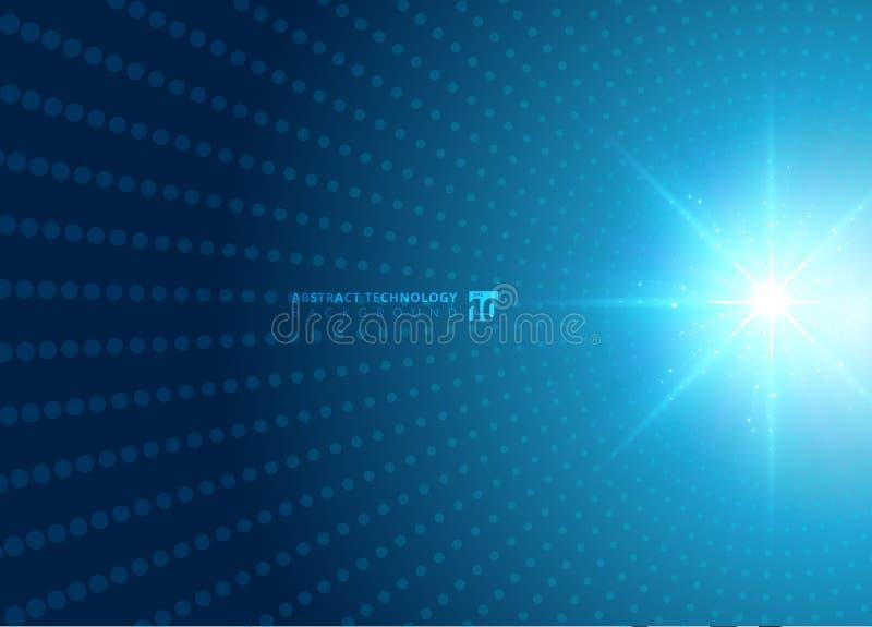 与蓝色霓虹辐形轻的爆炸作用蓝色的抽象技术概念光点图形未来派透视背景 数字式 库存例证