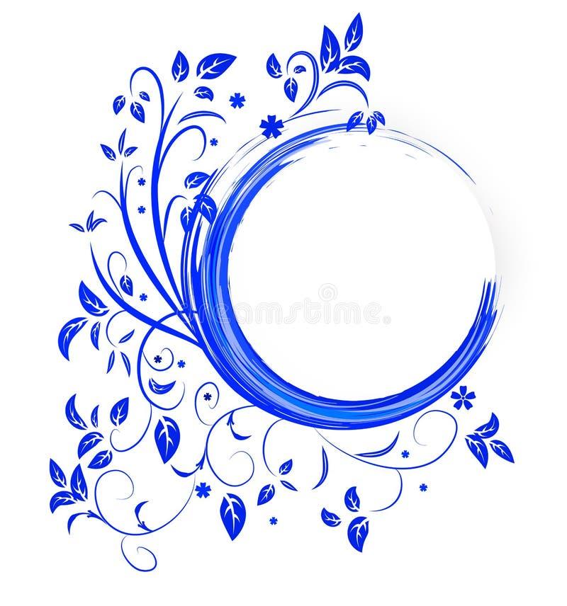 与蓝色颜色卷毛的抽象横幅  向量例证