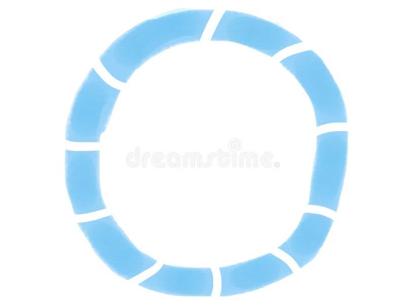 与蓝色颜色,例证色的树荫的软颜色葡萄酒淡色抽象圈子水彩框架孤立  免版税图库摄影