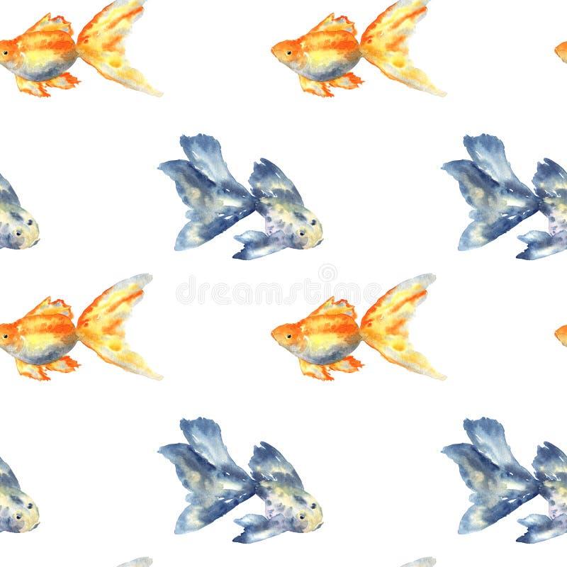 与蓝色鱼与大飞翅和金鱼的无缝的样式 r r 向量例证