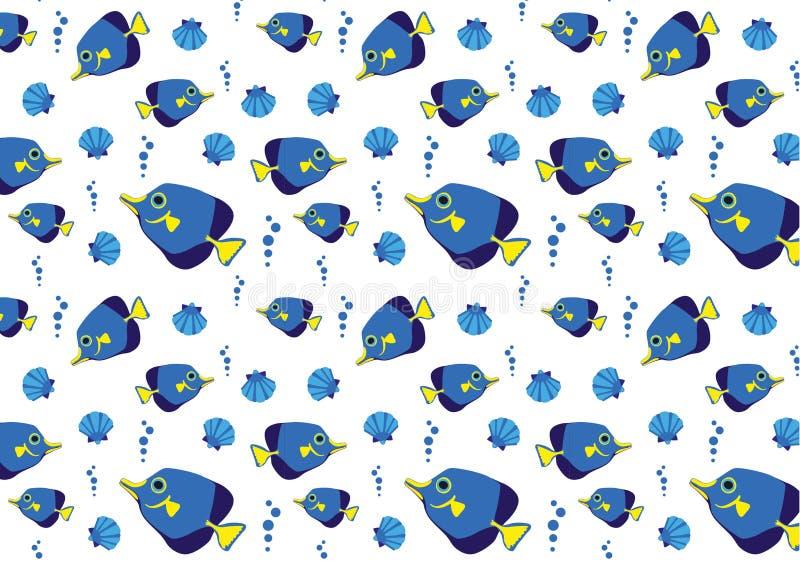 与蓝色鱼的海样式 库存例证