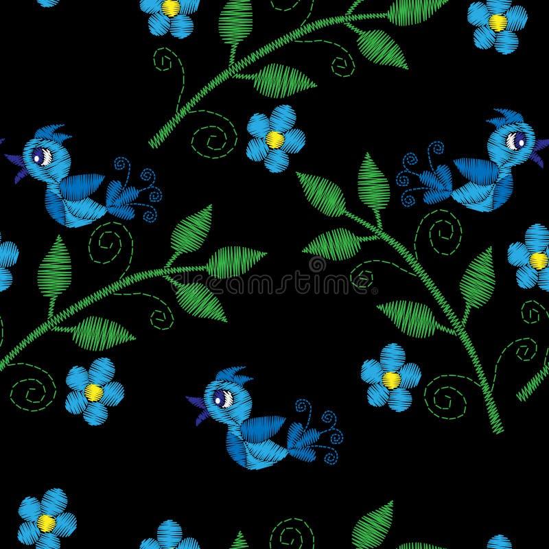 与蓝色鸟的无缝的样式在与花embroi的早午餐 向量例证