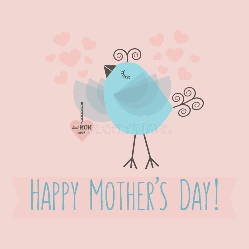 与蓝色鸟的桃红色愉快的母亲` s天卡片 向量例证