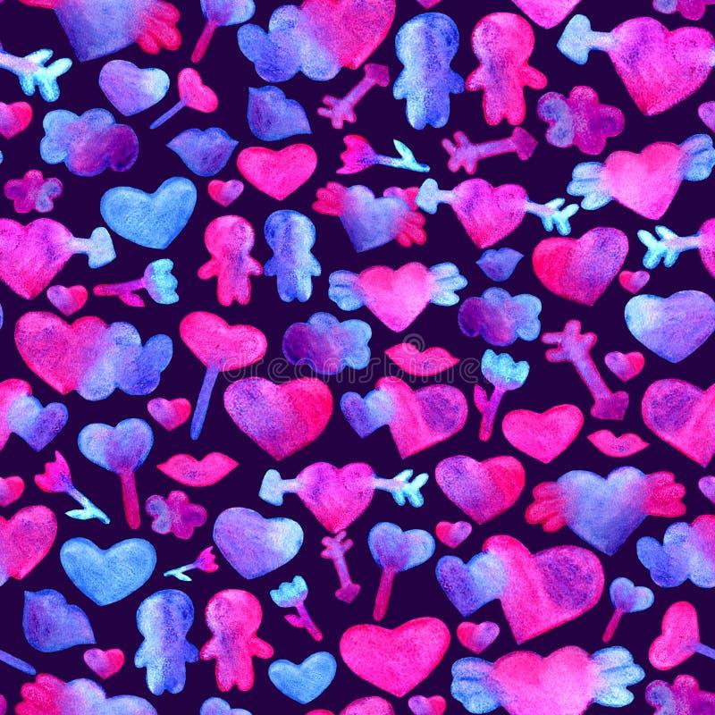 与蓝色,桃红色水彩心脏的无缝的样式 箭头,嘴唇,人浪漫设计 隔绝在紫罗兰色背景 向量例证