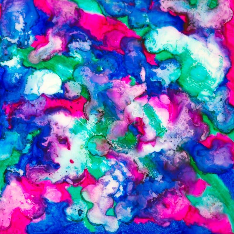 与蓝色,紫色和绿色的方形的水彩 库存图片