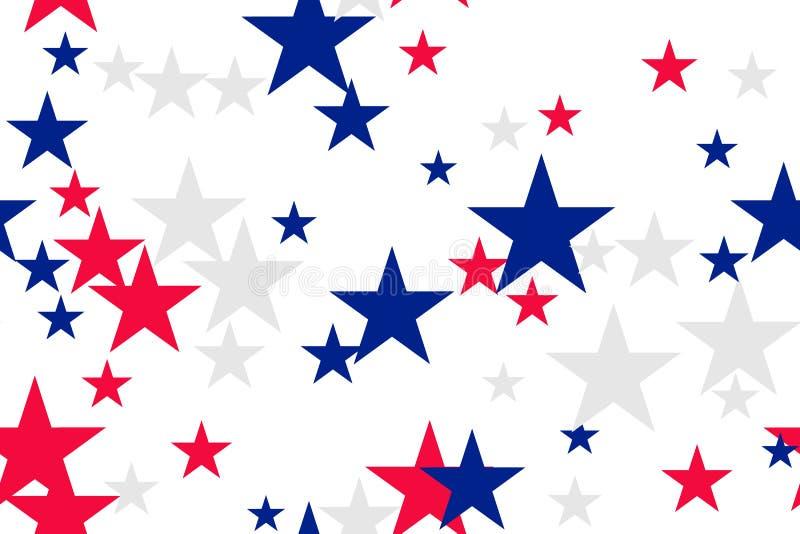 与蓝色,红色,白色星的无缝的样式 向量例证