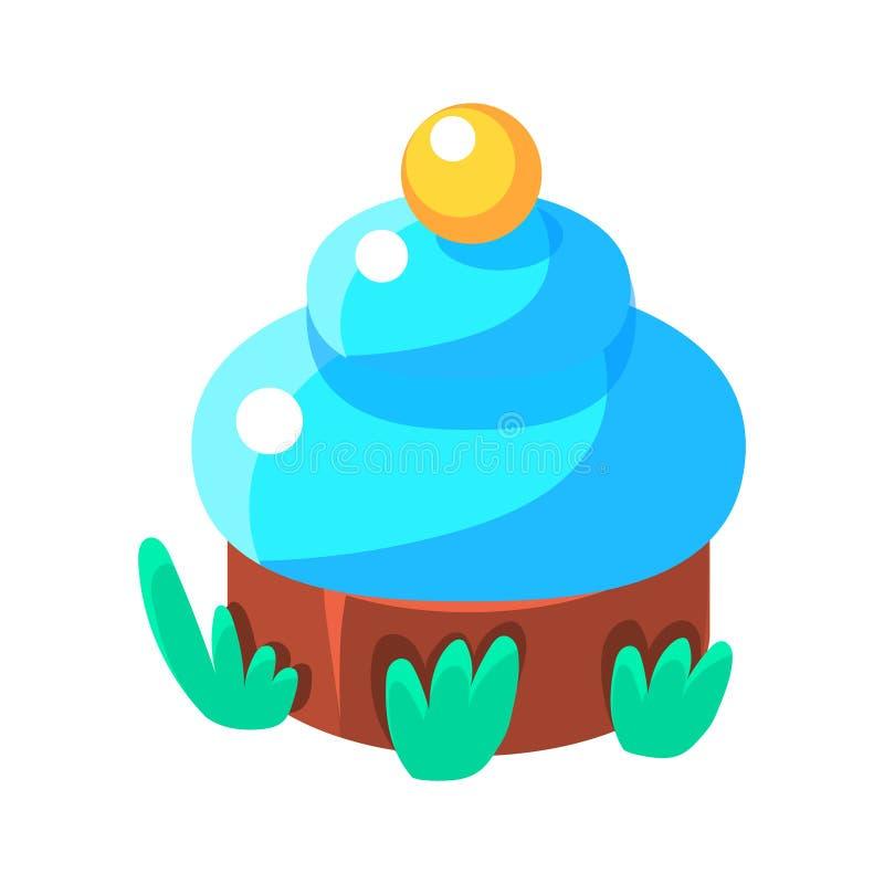 与蓝色结冰,在幼稚五颜六色的设计的童话糖果土地公平的园艺的元素的巧克力杯形蛋糕被隔绝的 向量例证