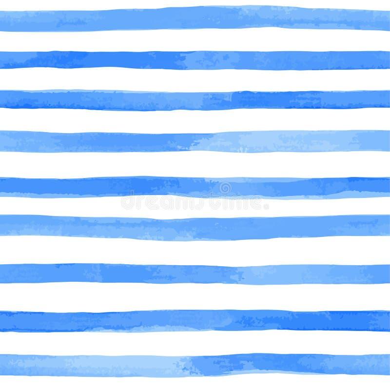 与蓝色水彩条纹的无缝的样式 手画刷子冲程,镶边背景 也corel凹道例证向量 皇族释放例证
