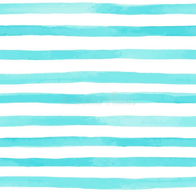 与蓝色水彩条纹的美好的无缝的样式 手画刷子冲程,镶边背景 也corel凹道例证向量 皇族释放例证
