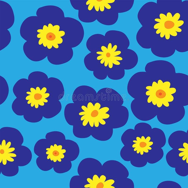 与蓝色紫罗兰的花卉无缝的样式在蓝色背景 皇族释放例证