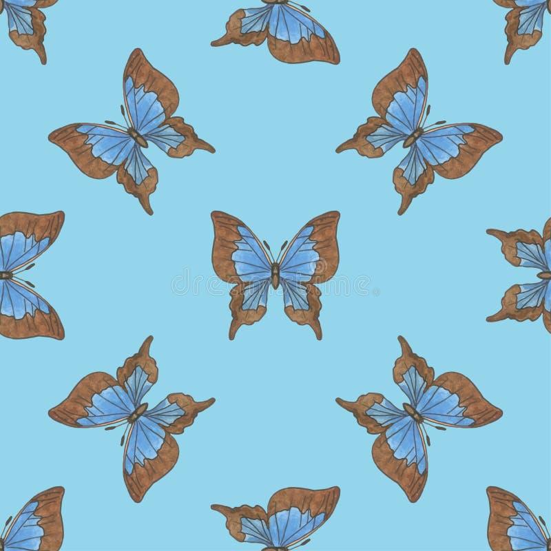 与蓝色蝴蝶的无缝的样式 库存例证