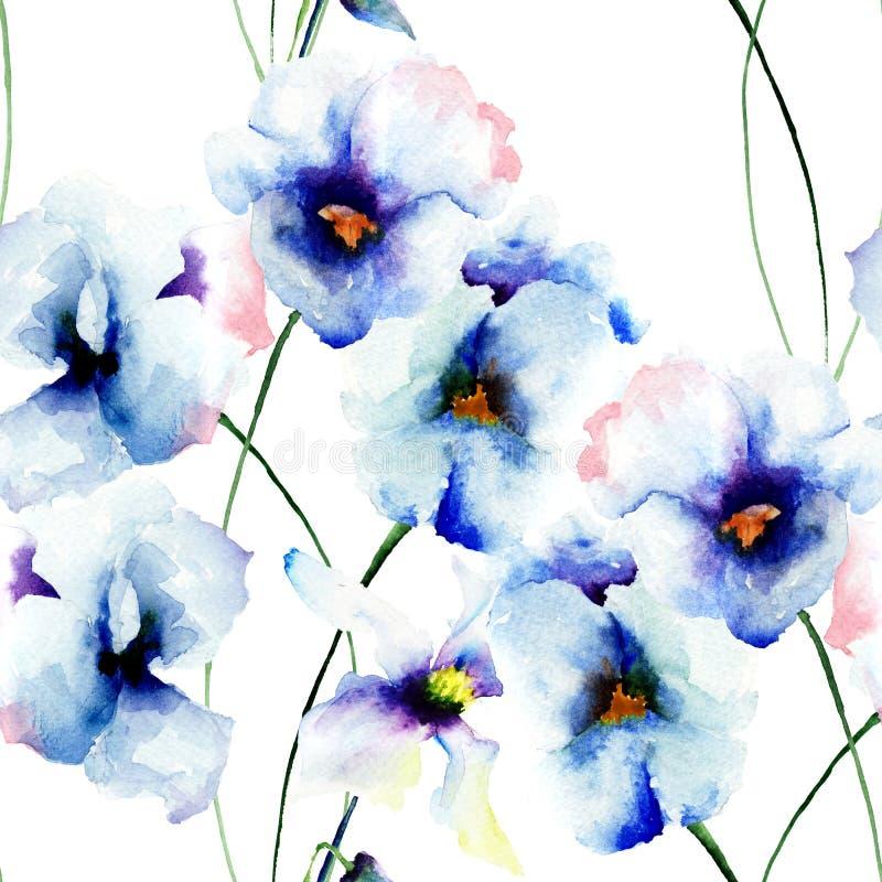与蓝色蝴蝶花花的无缝的墙纸 皇族释放例证