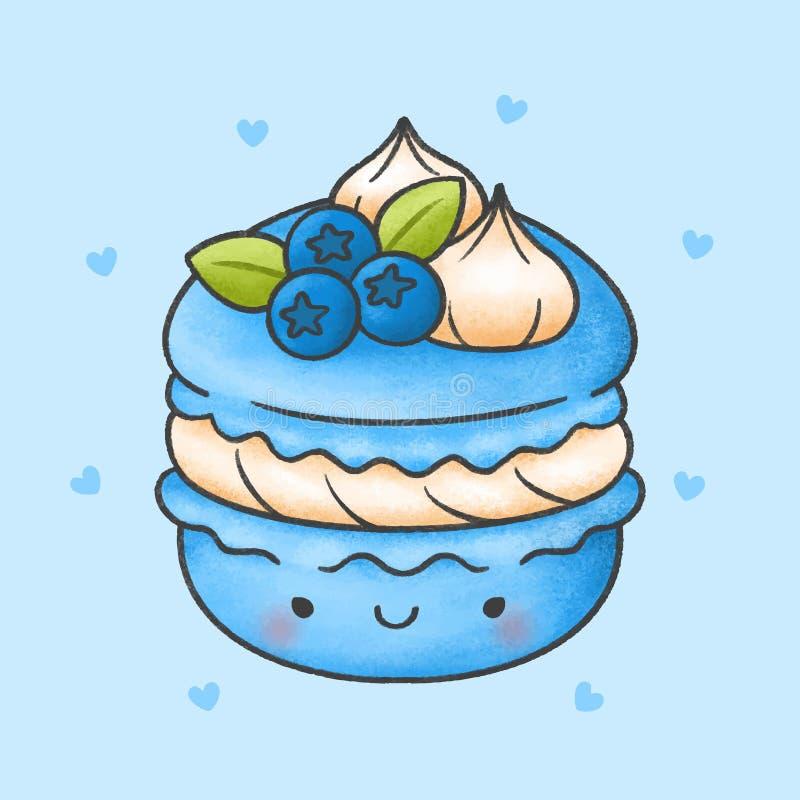 与蓝莓鞭子奶油点心动画片手拉的样式的逗人喜爱的蛋白杏仁饼干 皇族释放例证