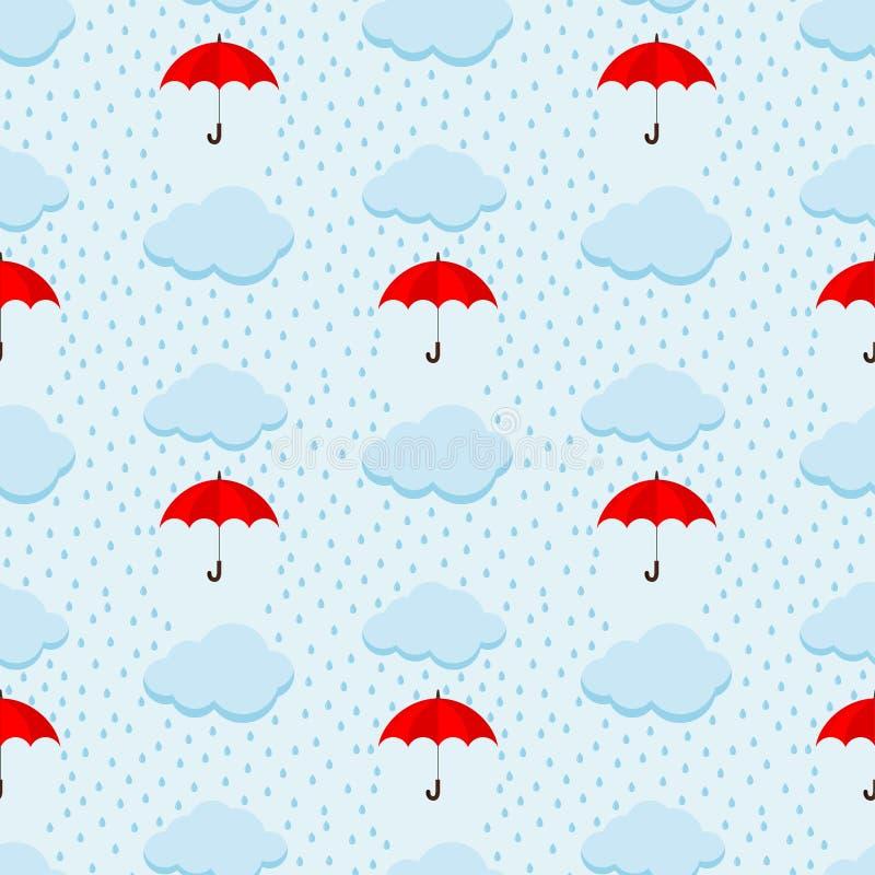与蓬松云彩和红色伞的夏天下雨天天空逗人喜爱的传染媒介无缝的样式在蓝色天堂背景 库存例证