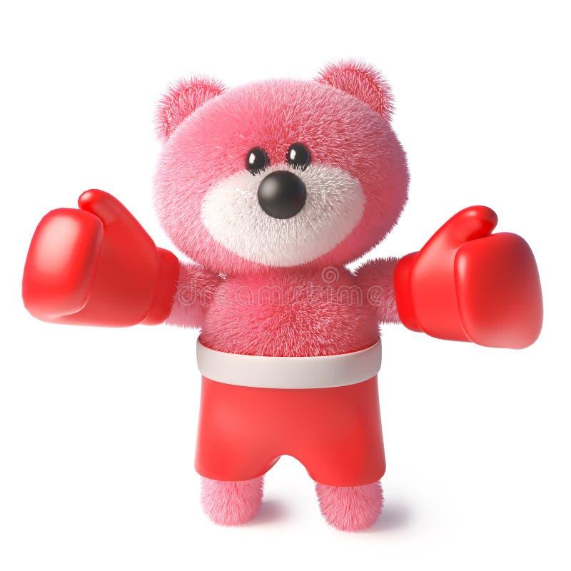 与蓬松桃红色毛皮佩带的拳击手套和把装箱的短裤,3d的玩具熊例证 库存例证