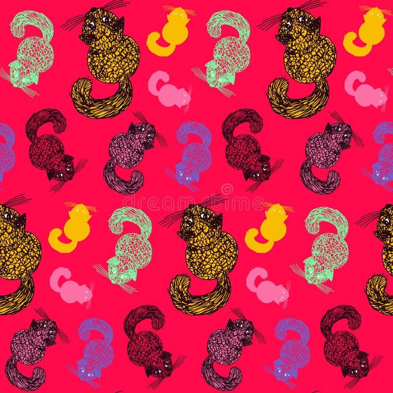 与蓬松猫的无缝的样式 手拉的彩图传染媒介剪影 逗人喜爱的猫顶视图  徒手画写作五颜六色 皇族释放例证