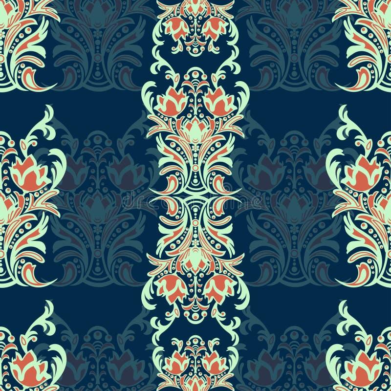 与蔓藤花纹的锦缎花卉无缝的样式,多色东方装饰品 背景的自然m抽象传统装饰 皇族释放例证