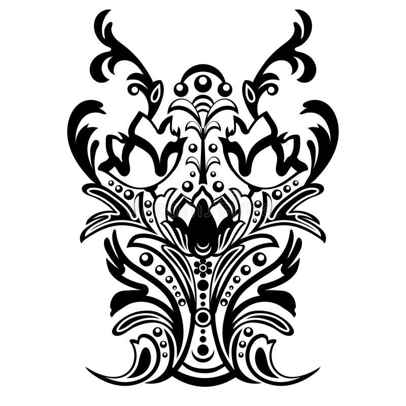 与蔓藤花纹的锦缎花卉样式,东方装饰品 背景的抽象传统装饰 黑白颜色, monoc 库存例证