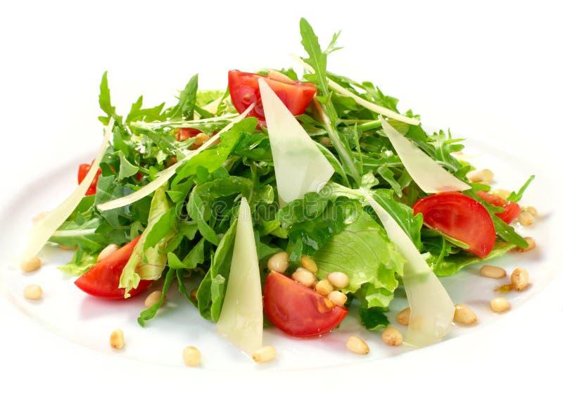 与蔬菜和巴马干酪的新鲜的沙拉 免版税库存照片