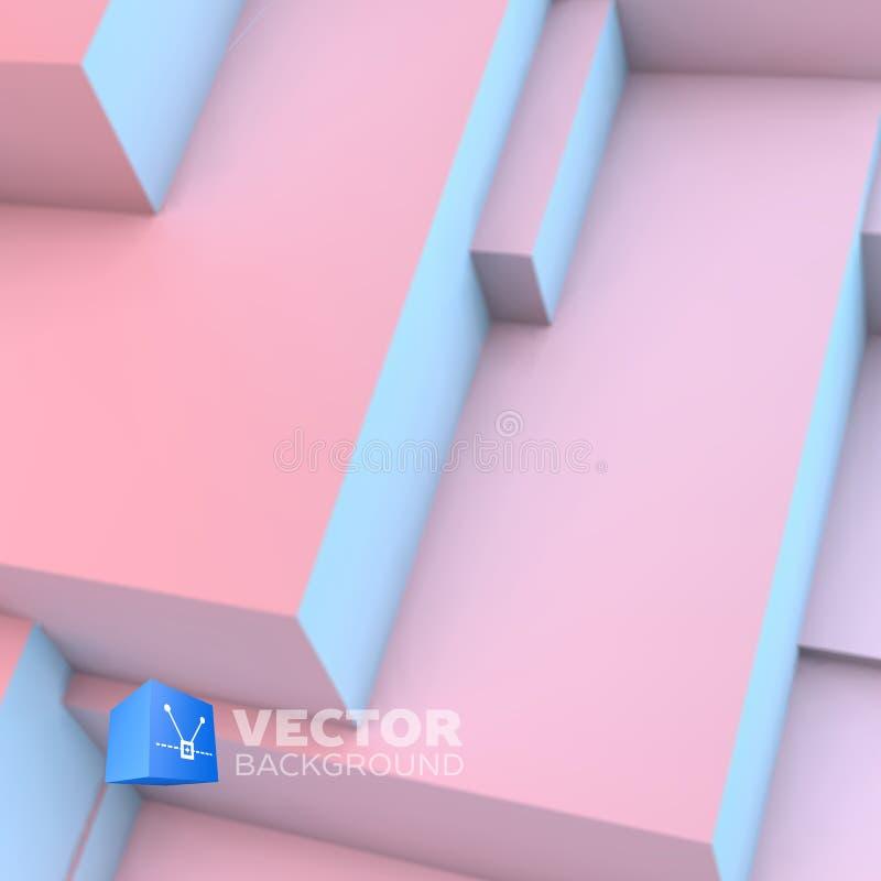 与蔷薇石英和平静立方体的抽象背景 向量例证