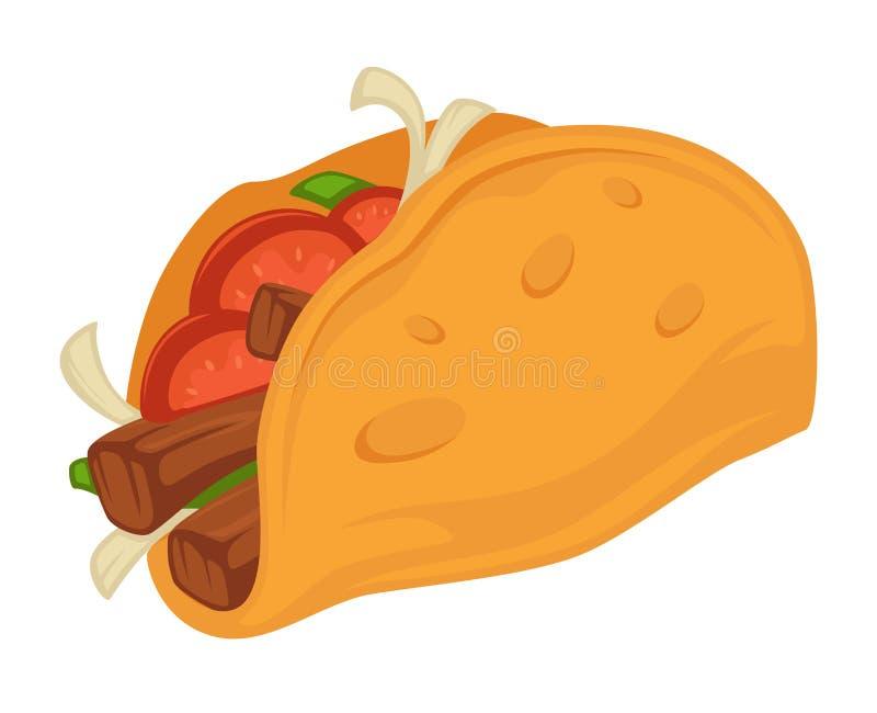 与蕃茄和肉切片的炸玉米饼墨西哥传统食物 皇族释放例证