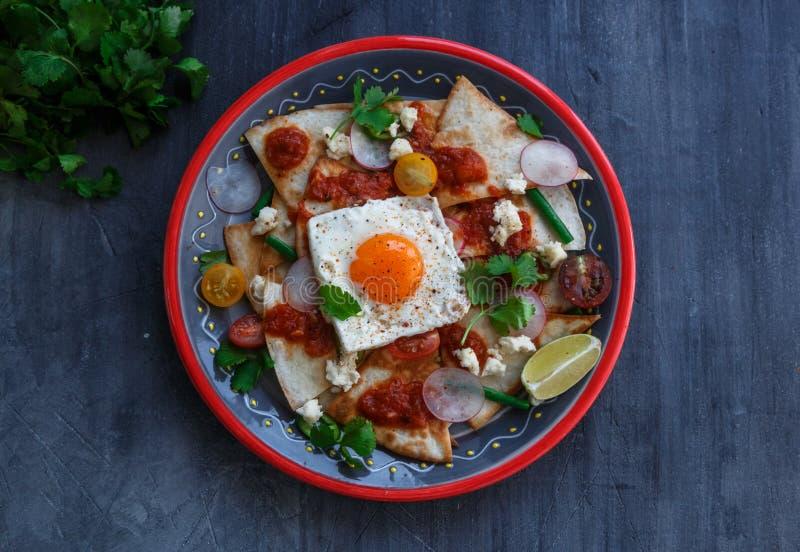 与蕃茄辣调味汁、鸡和蛋特写镜头的Chilaquiles墨西哥玉米粉薄烙饼在板材 水平的看法从上面 免版税库存图片