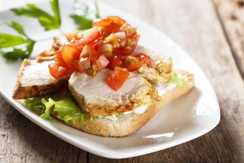 与蕃茄辣调味汁的鸡肉三明治 库存图片