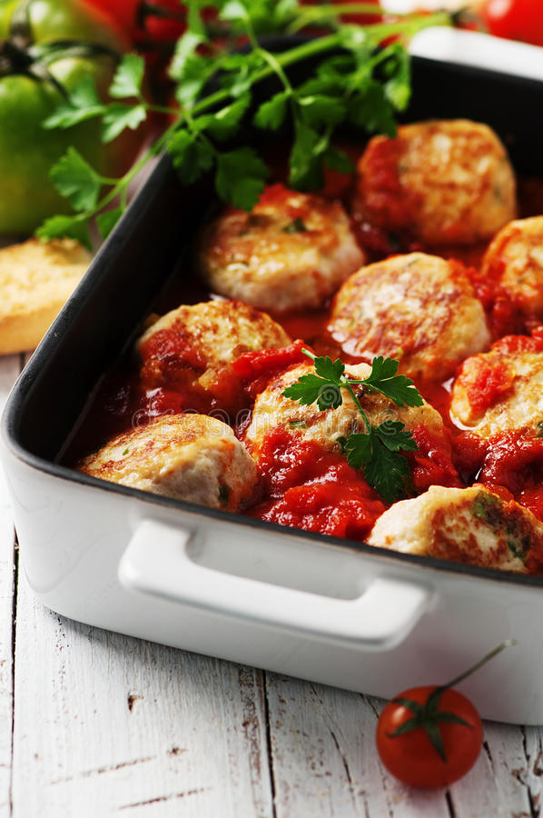 与蕃茄sause的肉丸 库存照片