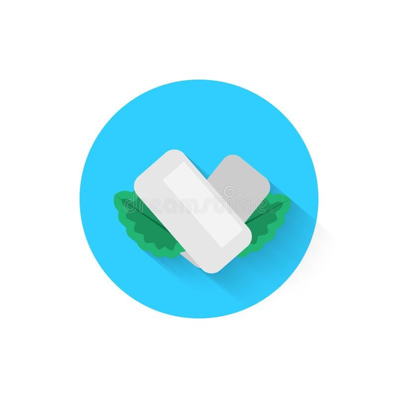 与薄荷叶的口香糖是被隔绝的象象 您的项目的传染媒介例证 皇族释放例证