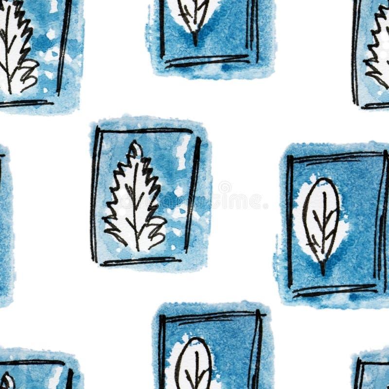 与藏青色树,叶子的无缝的样式在冬天 手拉的徒手画的黑色,冷的蓝色和白色例证 难看的东西剪影s 皇族释放例证