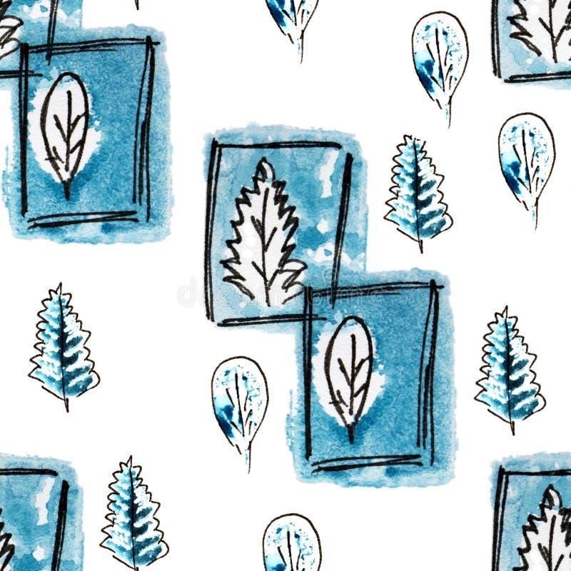 与藏青色树,叶子的无缝的样式在冬天 手拉的徒手画的黑色,冷的蓝色和白色例证 难看的东西剪影s 向量例证