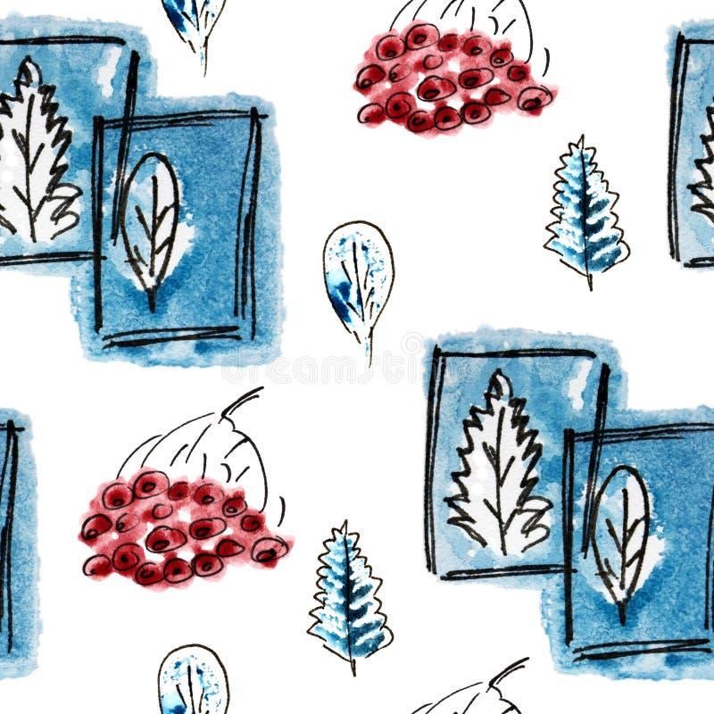 与藏青色树,花楸浆果的无缝的样式在冬天 手拉的徒手画的黑色,冷的蓝色和白色例证 grunge 库存例证