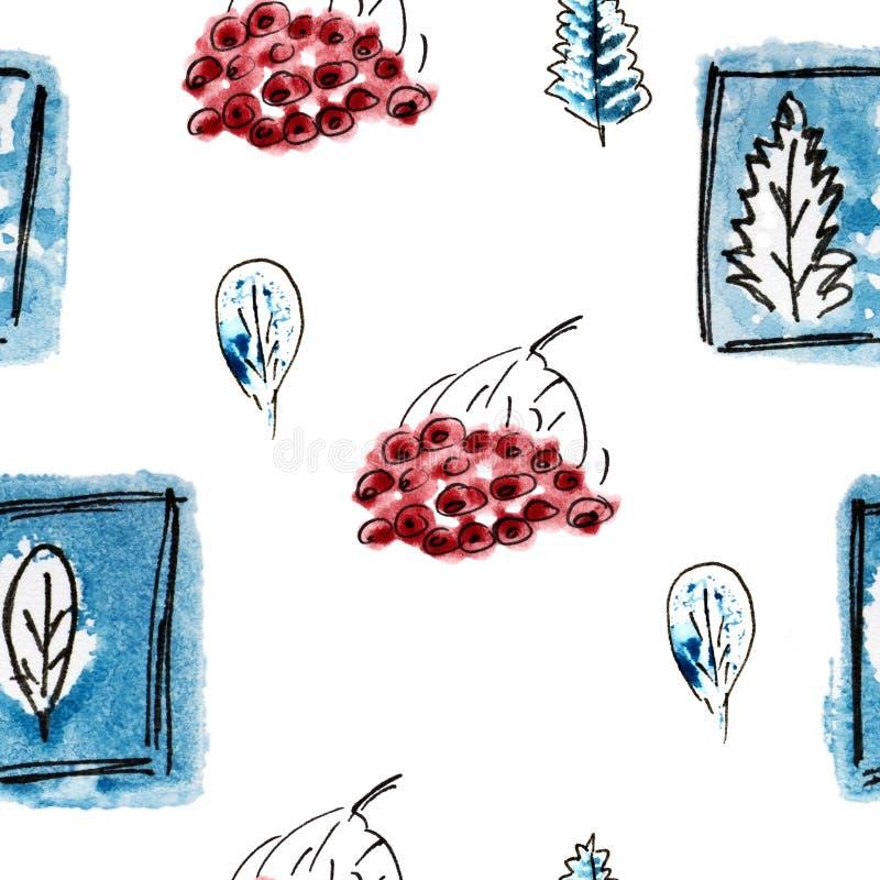 与藏青色树,花楸浆果的无缝的样式在冬天 手拉的徒手画的黑色,冷的蓝色和白色例证 grunge 皇族释放例证